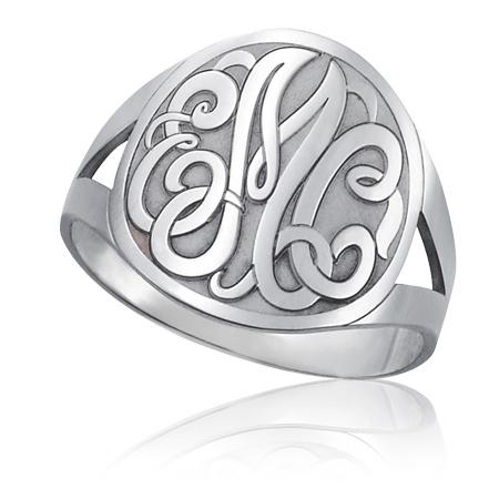 Sterling Silver Interlocking Monogram Signet Ring