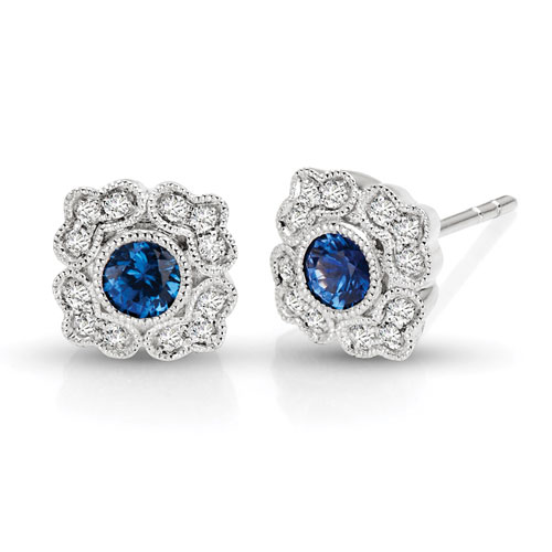 14k White Gold 3/8 ct tw Blue Sapphire Floral Earrings with Diamonds