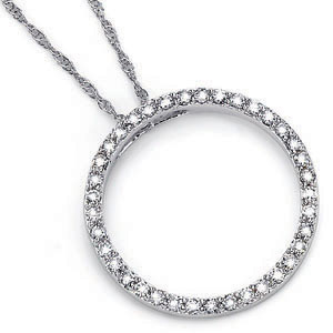 1/6 CT TW Diamond Circle Pendant [I-J/I1] with Chain