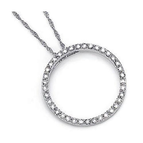3/4 CT TW Diamond Circle Pendant [I-J/I1] with Chain