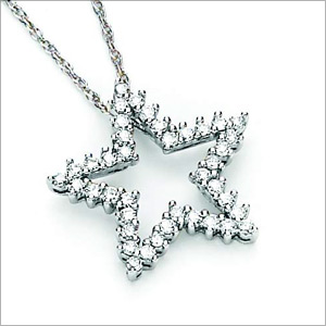 1/2 CT TW Diamond Star Pendant with Chain