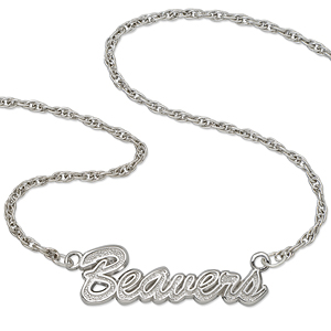 Oregon State Beavers 18in Sterling Silver Script Necklace