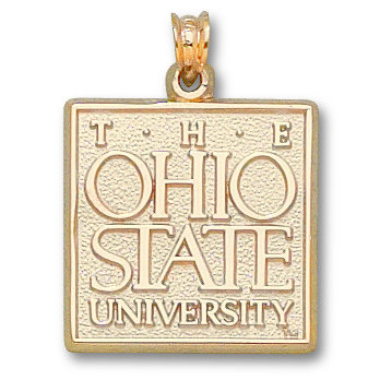 10kt Yellow Gold 3/4in Ohio State University Square Pendant