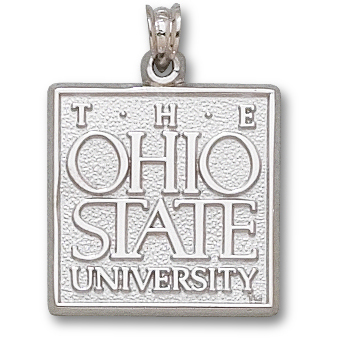 Sterling Silver 3/4in Ohio State University Square Pendant