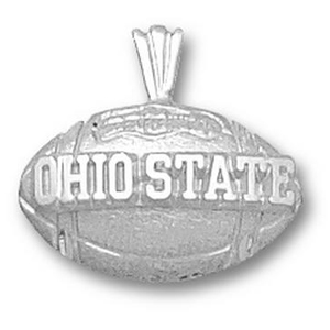 Ohio State Buckeyes 1/2in Sterling Silver Football Pendant