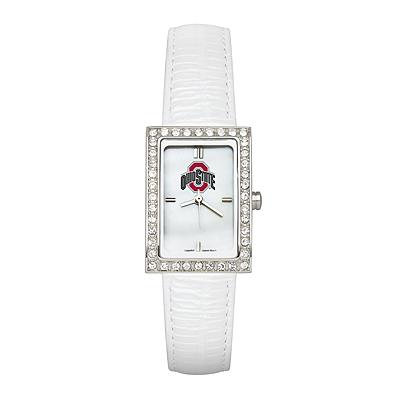 Ohio State University Ladies Allure Watch White Leather Strap