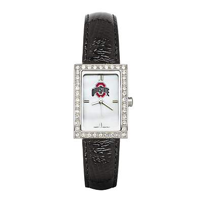Ohio State University Ladies Allure Watch Black Leather Strap
