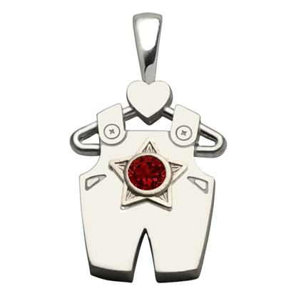 Sterling Silver Boy All Star Garnet Pendant