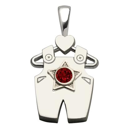 Sterling Silver Boy All Star Garnet Pendant