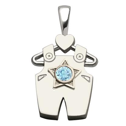 Sterling Silver Boy All Star Aquamarine Pendant