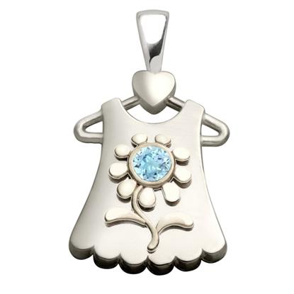 Sterling Silver Blossom Aquamarine Pendant