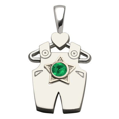 Sterling Silver Boy All Star Synthetic Emerald Pendant