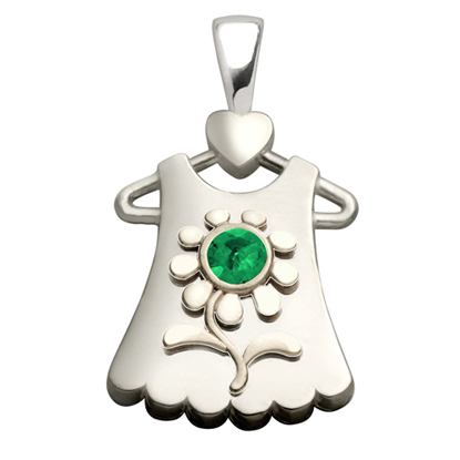 Sterling Silver Blossom Synthetic Emerald Pendant