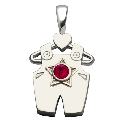 Sterling Silver Boy All Star Synthetic Ruby Pendant