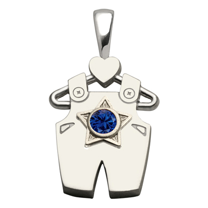 Sterling Silver Boy All Star Synthetic Sapphire Pendant