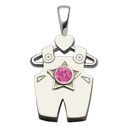 Sterling Silver Boy All Star Synthetic Pink Sapphire Pendant