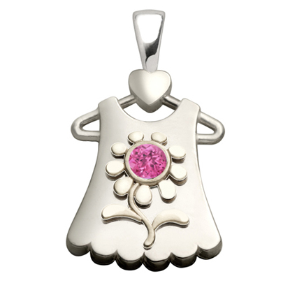Sterling Silver Blossom Synthetic Pink Sapphire Pendant