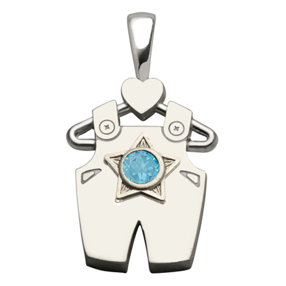 Sterling Silver Boy All Star Blue Topaz Pendant