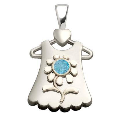Sterling Silver Blossom Blue Topaz Pendant