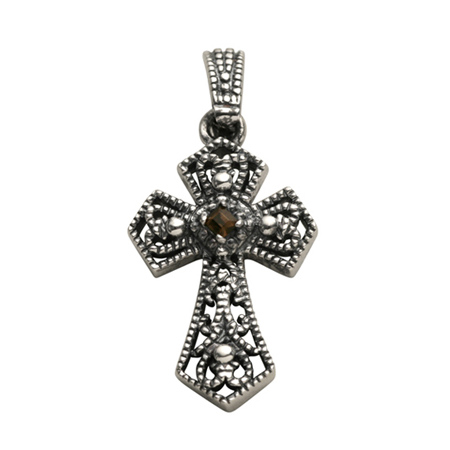 Sterling Silver 1 1/2in Rope Cross with Genuine Smokey Quartz