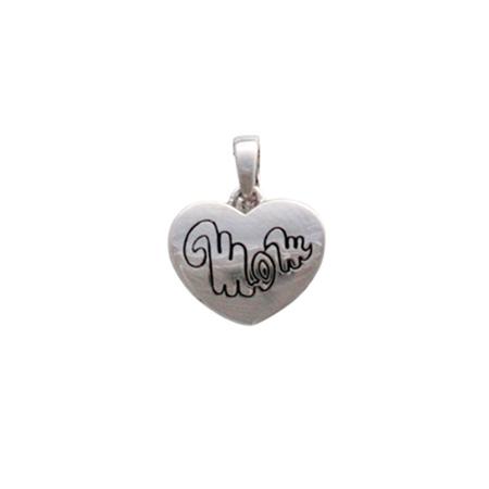 Sterling Silver Mom Heart Pendant