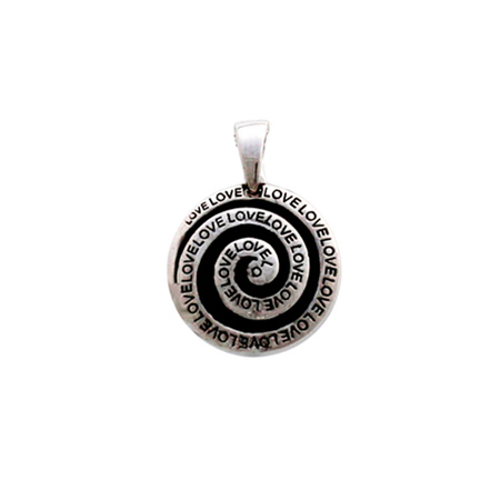 Sterling Silver Love Pendant in Black Enamel