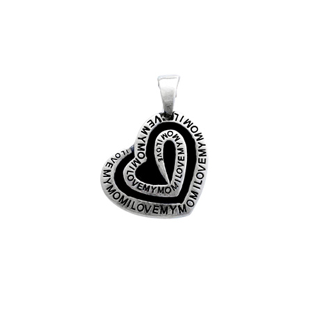 Sterling Silver I Love Mom Heart Pendant in Black Enamel
