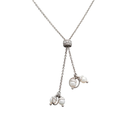 Sterling Silver 27in Y Cable Chain with White 4mm Pearls