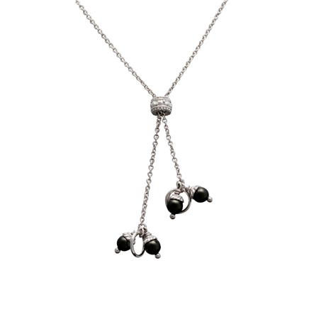 Sterling Silver 27in Y Cable Chain with Black 4mm Pearls
