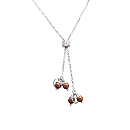 Sterling Silver 27in Y Cable Chain with Chocolate 4mm Pearls