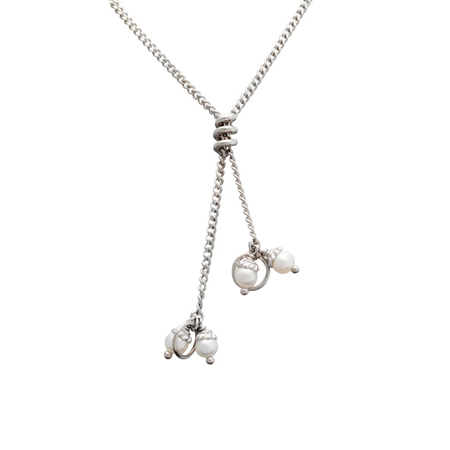 Sterling Silver 27in Y Coil Curb Chain with White 4mm Pearls
