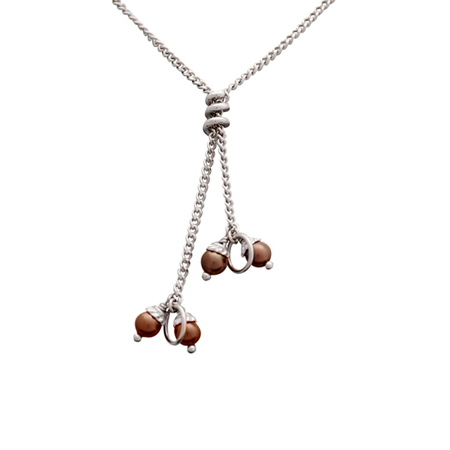 Sterling Silver 27in Y Coil Curb Chain with Chocolate 4mm Pearls