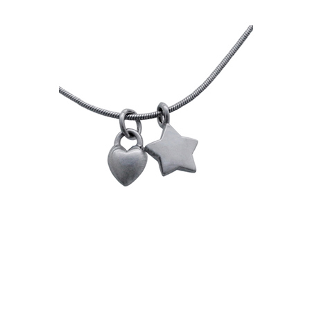 Sterling Silver 18in Necklace with Star and Puffed Heart Charms