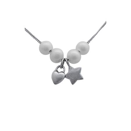 Sterling Silver 18in Necklace with Star Heart Charms and Pearls