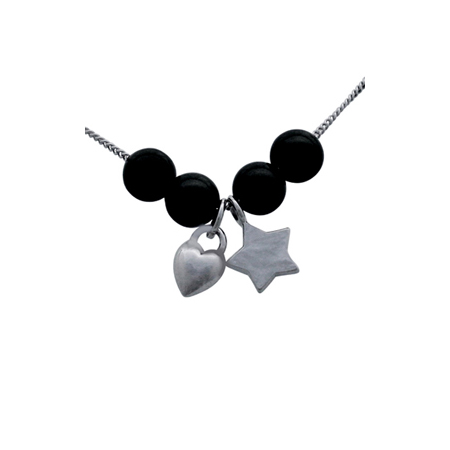 Sterling Silver 18in Necklace with Star Puffed Heart Charms and 4 Black Pearls