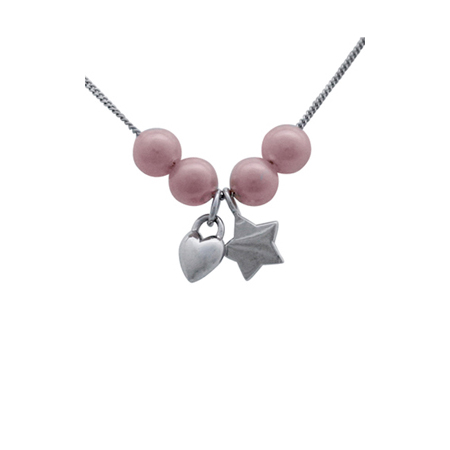Sterling Silver 18in Necklace with Star Puffed Heart Charms and 4 Pink Pearls