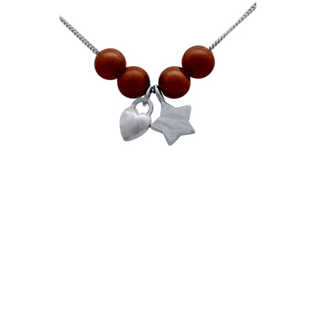 Sterling Silver 18in Necklace with Star Puffed Heart Charms and 4 Chocolate Pearls