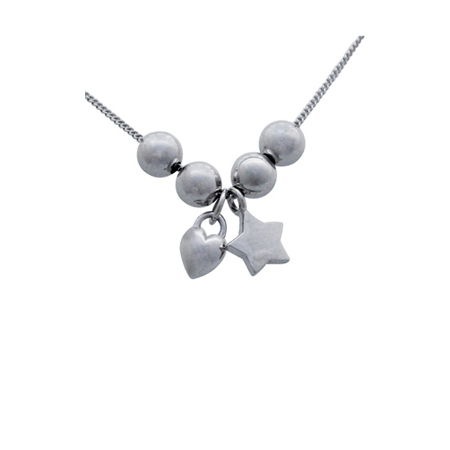 Sterling Silver 18in Necklace with Star Puffed Heart Charms and 4 Beads