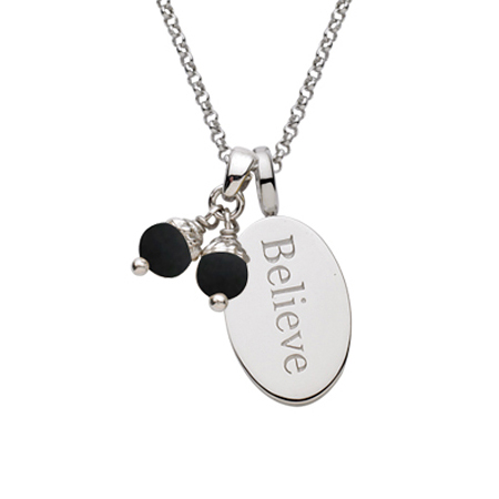 Sterling Silver 18in Believe Necklace with Black Pearls