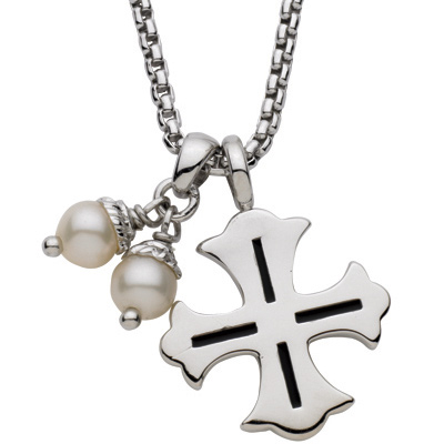 Sterling Silver 18in Box Chain with Cross Pendant and White Pearls