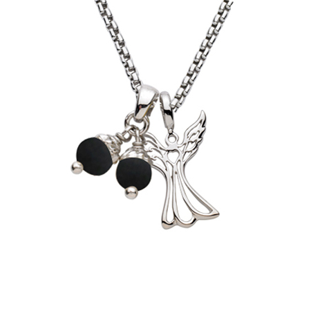 Sterling Silver 18in Angel Necklace with Black Pearls