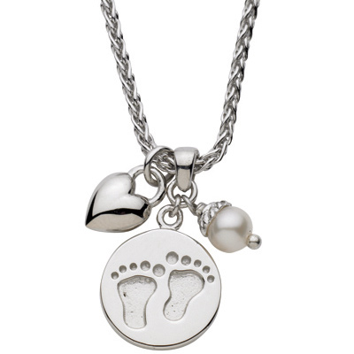 Sterling Silver 18in Baby Feet with Puffed Heart Necklace