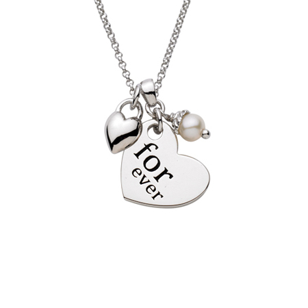 Sterling Silver 18in Forever Heart with Puffed Heart and White Pearl Necklace