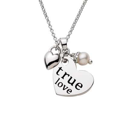 Sterling Silver 18in True Love Heart with Puffed Heart and Pearl Necklace