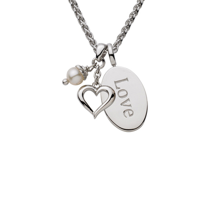 Sterling Silver 18in Love Oval Necklace with Open Heart and White Pearl