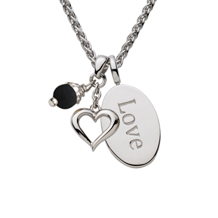 Sterling Silver 18in Love Oval Necklace with Open Heart and Black Pearl