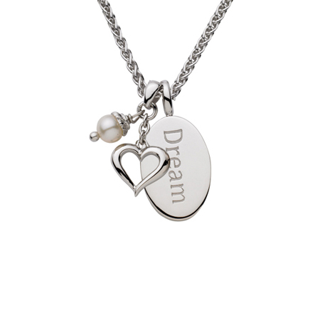 Sterling Silver 18in Dream Oval Necklace with Open Heart and White Pearl