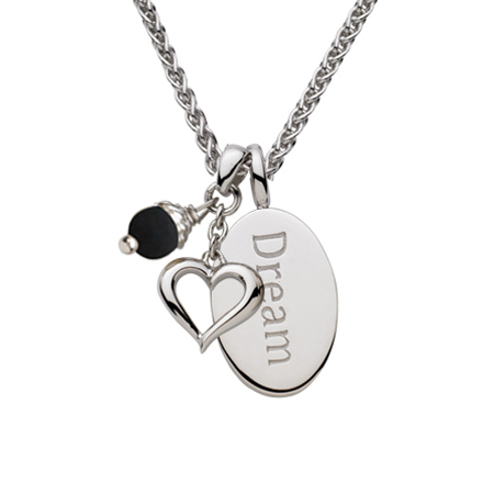 Sterling Silver 18in Dream Oval Necklace with Open Heart and Black Pearl