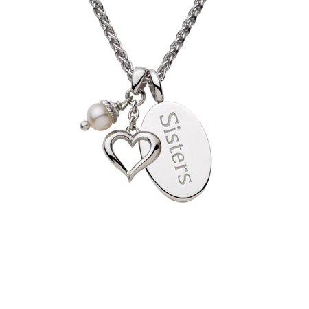 Sterling Silver 18in Sisters Oval Necklace with Heart and White Pearl