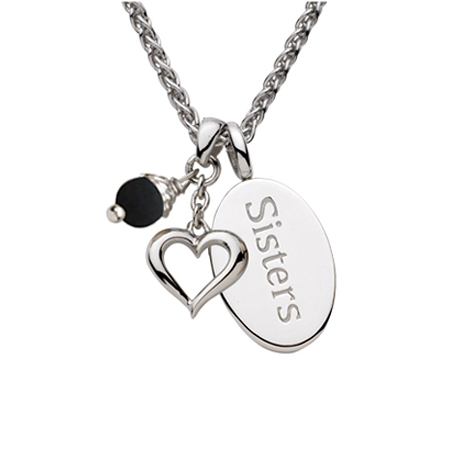 Sterling Silver 18in Sisters Oval Necklace with Heart and Black Pearl